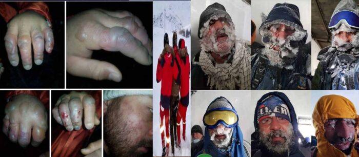 کوهنوردان یخ زده در ارتفاعات تهران با عکس